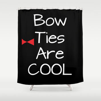 Doctor Who Bow Ties Are Cool Shower Curtain by 2sweet4words Designs