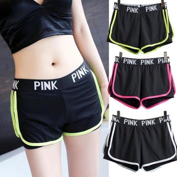 Pink print edge Fitness yoga shorts women sports casual hot pants shorts