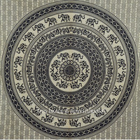 Black Big Elephant Mandala Hippie Wall Tapestry Bedspread Bedding on RoyalFurnish.com