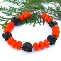 Black Skull Halloween Bracelet Handmade Orange Day of the Dead Jewelry