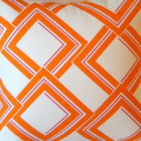 Decorative Designer Pillow   Orange Fuschia and by MicaBlue