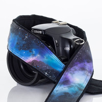 Extra Long Galaxy Camera Strap 16-3, OOAK Hand painted, One of a Kind, dSLR or SLR, Cosmos, Nebula, Space, Quick Release