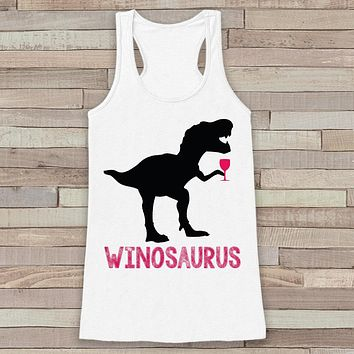 Dinosaur Wine Tank Top - Winosaurus - White Flowy Tank - Fun Gift Idea - Funny Shirt For Her - Wine Lover Gift Idea - Dinosaur Lover Gift