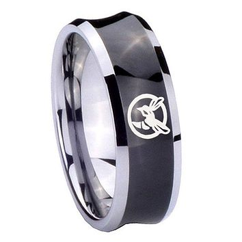 8MM Black Concave Honey Bee Two Tone Tungsten Carbide Laser Engraved Ring