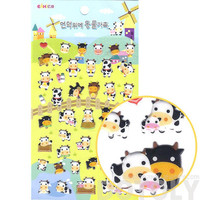 Classic Cartoon Cows Shaped Farm Animal Puffy Sticker Seals | Cute Animal Inspired Scrapbook Decorating Supplies