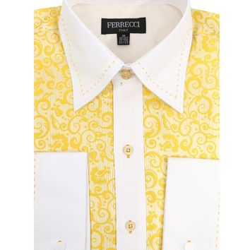 Ferrecci Men's Satine Hi-1026 Yellow Scroll Pattern Button Down Dress Shirt
