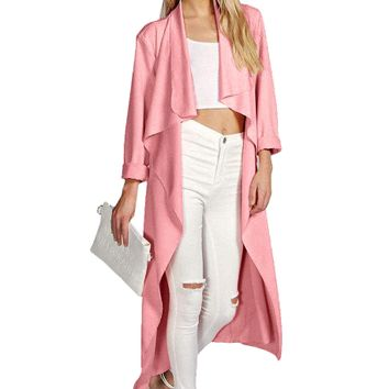 Plain Long-Sleeve Pocket Trench Coat