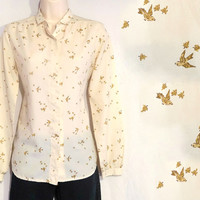 Vintage Bird Blouse Cream / Beige Women's Medium Size
