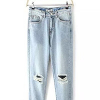 Blue High Rise Ripped & Baggy Jeans