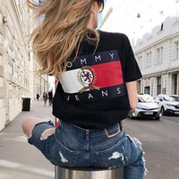 TOMMY JEANS Hot Sale Couple Casual Print T-Shirt Top Black