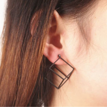 Fashion Personality Style Geometric Cube Black Silver Gold Alloy Earrings