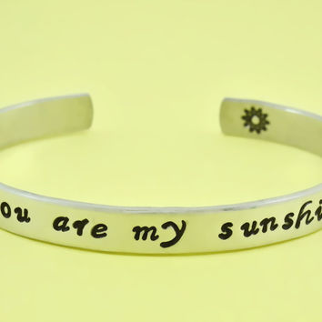 you are my sunshine - Hand Stamped Aluminum Cuff Bracelet, Mother Daughter Bracelet, Family Gift