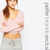 One Day Petite Long Sleeve Rib V Neck Crop Top