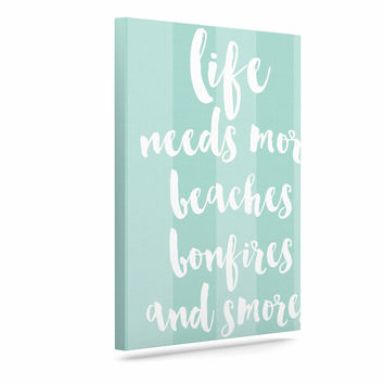 "Sylvia Cook ""Beaches & Bonfires - Mint"" Green Typography Canvas Art"