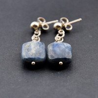 Denim Blue Kyanite Earrings, Sterling Silver Post Earrings, Nautical, Chain Jewelry