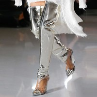 Women Vintage Fashion Silver Over The Knee High Heel Boots