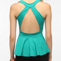 Sparkle & Fade Open-Back Peplum Tank Top