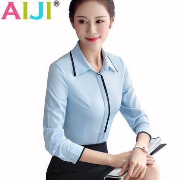 Spring summer women long sleeve shirt OL elegant bow tie formal chiffon blouse office ladies plus size work wear tops clothing