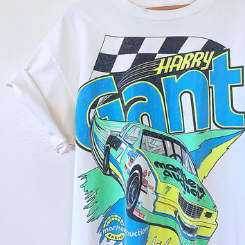 Vintage 90s Harry GANT Race NASCAR Racing Neon T Shirt Sz XL