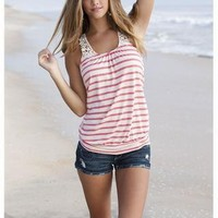 STRIPED TANK WITH CROCHET STRAPS
