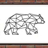 Bear Print, Geometric Bear Art, Digital Bear Wall Art, Black Bear, Digital, Printable Download, Geometric Wall Prints *1*