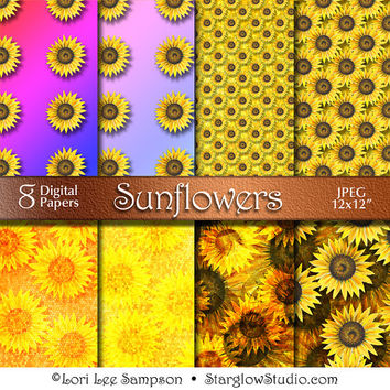 Sunflowers Digital Paper from Acrylic Painting | Digital Download | Scrapbooking Paper | Orange Yellow Rainbow | Paper Crafts