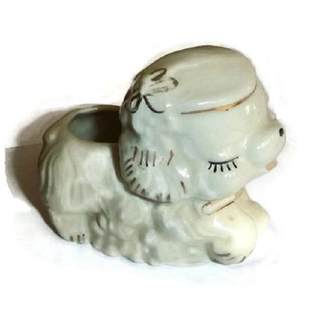 Adorable Vintage Puppy Planter Figurine Porcelain Puppy Dog Nursery Decor Kawaii Ceramic Doggie Statue Baby Gift 50s Kitsch Pottery Vase