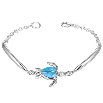 Sterling Silver Alamea Hawaii Natural Larimar Honu Sea Turtle Bracelet