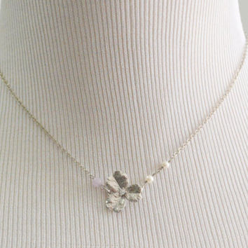 SALE10%) A-034 Flower pendant with pink jade necklace, Modern necklace, White gold rhodium plated chain/Bridesmaid gifts/Everyday jewelry/