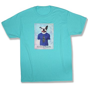 Dylan: French Bulldog in a Directional Sign Post Shirt, Scuba Blue