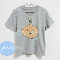 Onion shirt vegetable tshirt  kids toddlers boys girls clothing **short sleeve shirt **crew neck **grey clothes