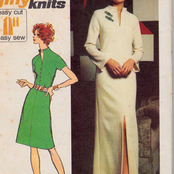 1970's Misses Pullover Dress Cocktail or Formal Length Simplicity 5320 Vintage Sewing Pattern Bust 38""