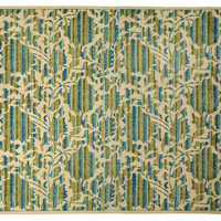 "8'2""x10'1"" Art & Craft Rug, Ivory/Green, Area Rugs"
