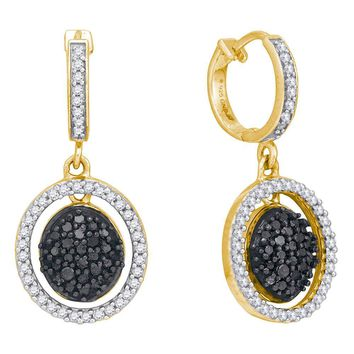 10kt Yellow Gold Womens Round Black Color Enhanced Diamond Oval Frame Dangle Earrings 3/4 Cttw