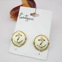 Fashion Anchor Stud Earring from LOOBACK FASHION STORE