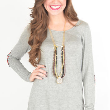 Long Sleeve Heather Grey Top with Buffalo Plaid Elbow Patches and Hem