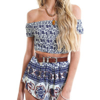 Floral Off-shoulder Short Sleeve Bodycon Cropped Top Shorts Set