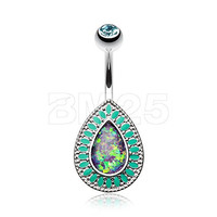 316L, 14GA,Classic Chakra Opal Belly Button Ring