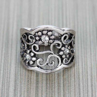Flower Engraved Silver Ring