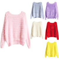 Solid Fuzzy Knitted High Low Pullover Sweater