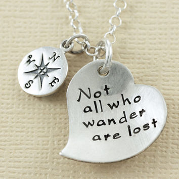 Compass Necklace - Not All Who Wander Are Lost - Personalized Hand Stamped Sterling Silver, Inspirational Jewelry - Christina Guenther