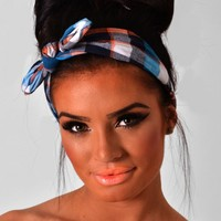 Picnic Blue & Orange Tartan Bow Headband | Pink Boutique