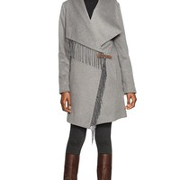 Women's Lauren Ralph Lauren Fringe Trim Long Drape Front Coat,