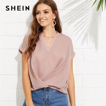 SHEIN Pink Elegant Workwear Draped V Neck Stand Collar Short Sleeve Solid Blouse Summer Women Weekend Casual Shirt Top