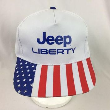 DCCK3SY Vintage Jeep Liberty Strapback Hat Adjustable American Flag Cap