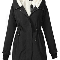 Thicken Fleece Hooded Zipper Winter Coat