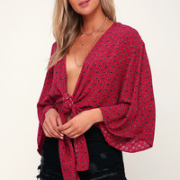 Knot Yours Berry Red Print Long Sleeve Tie-Front Top