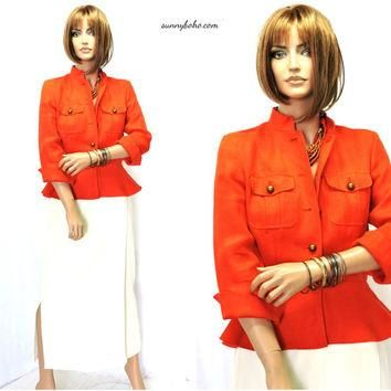 Vintage Ralph Lauren linen jacket / blazer S designer orange woven linen jacket burnt