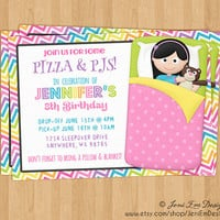 Girls Sleepover, Slumber Birthday Party Invitation - Printable, Sleeping Bag, Camp Out, Movie Night