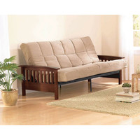 Walmart: Mainstays Mission Wood Arm Futon, Walnut